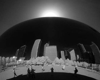Chicago Reflection on Cloud Gate- 8x12 Fine Art Infrared Photograph