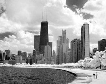 Chicago Lakefront Skyline- 8x12 Fine Art Infrared Photograph