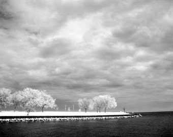 Belmont Harbor Clouds in Chicago -  8x12 Fine Art Infrared Photograph