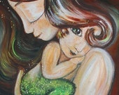 Merchild 2 - Archival 12x12 signed motherhood print from an acrylic painting by Katie m. Berggren
