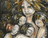 Mother To Many - Archival 12x12 signed motherhood print from an original painting by Katie m. Berggren
