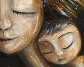 Something Beautiful - Archival 12x12 signed motherhood print from an acrylic painting by Katie m. Berggren