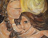 mother and child breastfeeding toddler yellow art print - Simple Gifts - archival signed 12x12 motherhood print