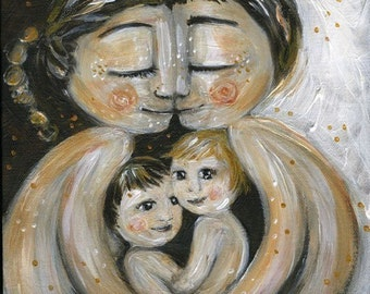 Like Minded, archival signed motherhood print from an original painting by Katie m. Berggren