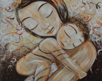 mother and child art print - Cling - Archival 8x10 signed motherhood print