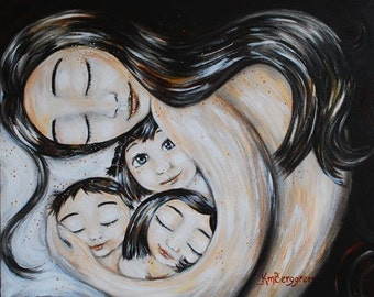 Veva's Home - Archival signed print of mother with three children