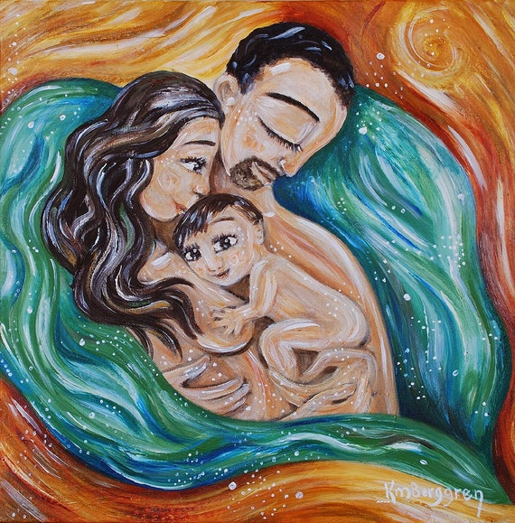 Mother and child water birth green gold family love by for Meaningful paintings pictures