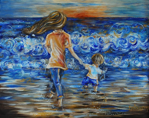 mother and child beach sand blue art print - Following The Sun - Archival 13x19 Print