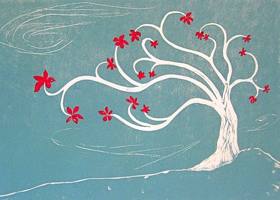 Flowering Tree (turquoise w/red) - linoleum print