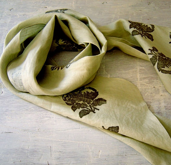 Magnolia Print Linen Scarf in Sage