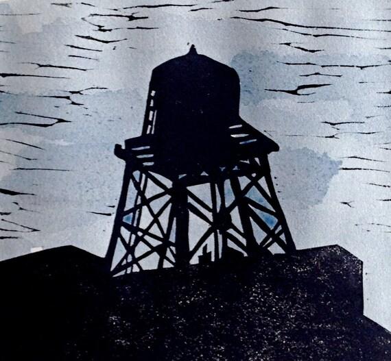 Brooklyn Water Tower w/watercolor linocut by Michelle Han