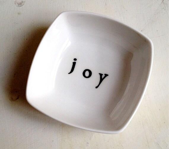 JOY hand-printed small square dish/ ring dish/ soap dish/ sauce dish