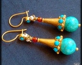 Turquoise, Carnelian and Pearl Drop Earrings