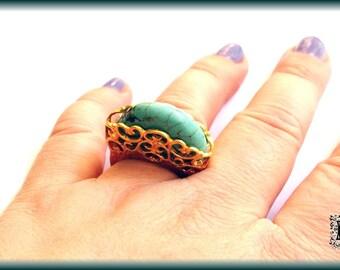Raised Turquoise Filigree Golden Ring SIZE 7.5
