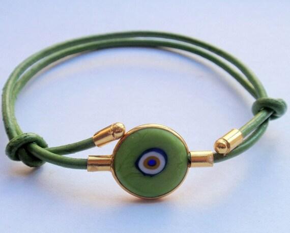 Adjustable Leather Green Evil Eye Bracelet