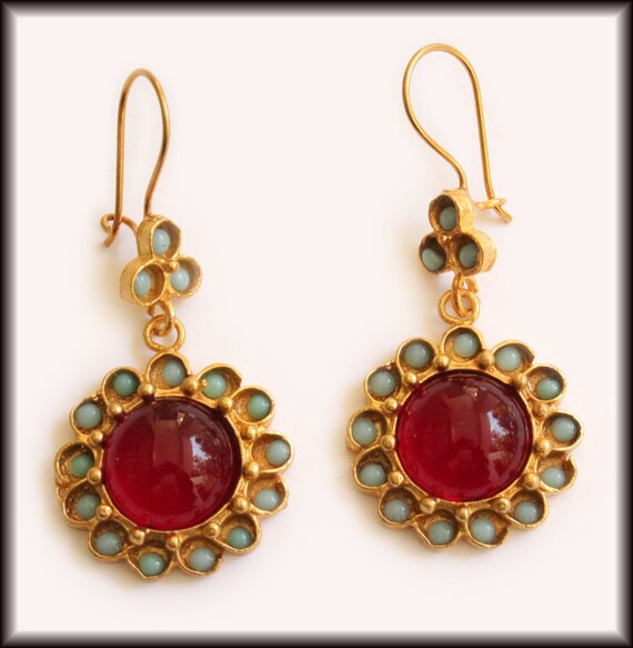 Amazonite and Red Glass Flower Drop Earrings