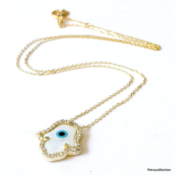 Items similar to Gold Vermeil Hamsa and Evil Eye Celebrity ...