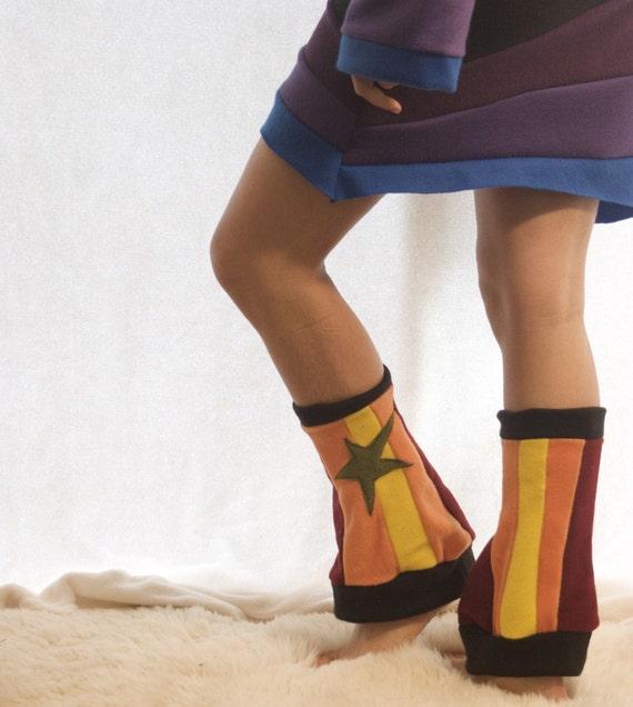 RESERVED FOR LROLLINS - Sunshine Striped Fleece Leg Warmers