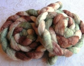 Snowy Pines - 100 Percent Hand Painted \/ Hand Dyed Bluefaced Leicester Wool Top 4.3 Ounces