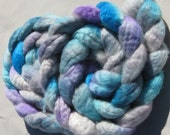 Silver Screen - 100 Percent Hand Painted \/ Hand Dyed Bluefaced Leicester Wool Top 4.0 Ounces