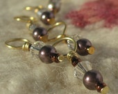 Stitch markers - Crystal Swarovski crystal and pearl - Set of 6