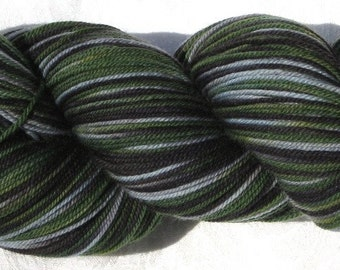 Handpainted Fingering Weight Hearty Sock Yarn - 100% 3 Ply Superwash Merino Wool - Swamp Thing