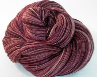 Handpainted Sock Yarn - Superwash Merino Wool, Cashmere, Nylon - Cabernet Sauvignon