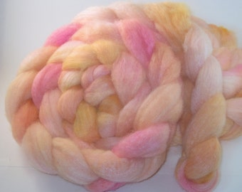 Combed Top / Roving Spinning / Felting Fiber Blue Faced Leciester Wool & Tussah Silk 75/25% - Rainbow Sherbet- 4 Ounces