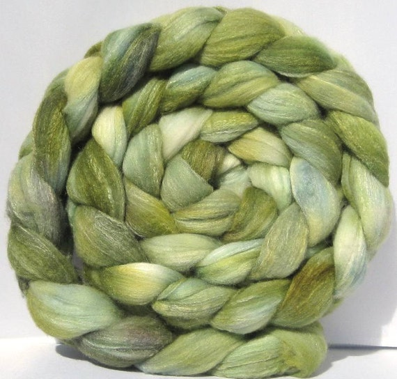 Combed Top / Roving Spinning / Felting Fiber Merino Wool & Tussah Silk 80/20% - Green as Grass - 6.6 Ounces