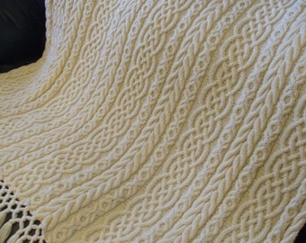 Celtic Aran Afghan, Knit Afghan, Aran Afghan, Knitting Pattern, Irish Knitting