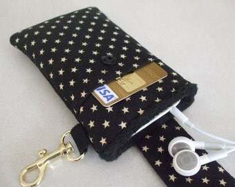 Smart Phone Case - Black Stars w/ Black Lining
