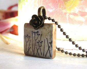 Tulip Field on a Letter Tile Necklace with Antique Brass Bead and Chain