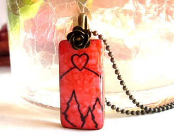 Mountain of Love on Domino Tile Necklace with Antique Brass Chain