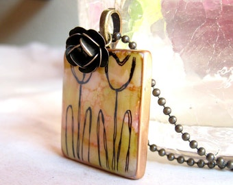 Field of Tulip on Letter Tile Necklace with Antique Brass Chain