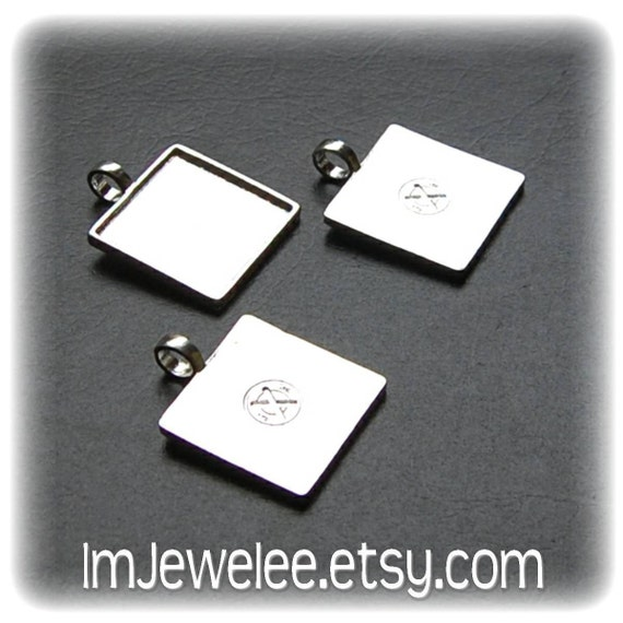 20 COOL White Silver Plated SQUARE Pendant Tray Blanks with attached bail - 1 Inch Size - Use for Bracelet Charms or Earring Blanks too - XO Brand TM