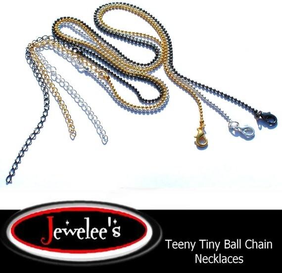 24 Ball Chain Necklace TEENY TINY Silver Gold GunMetal Black