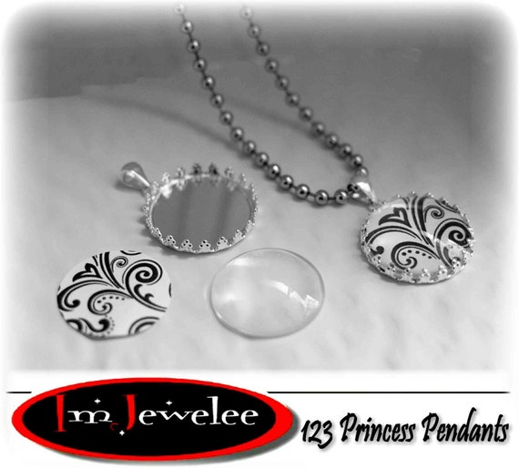 123 INSTANT Jewelry Craft Kit SILVER No Glue No Glaze Makes 10 Necklaces Easy Unique and makes a Great GIFT