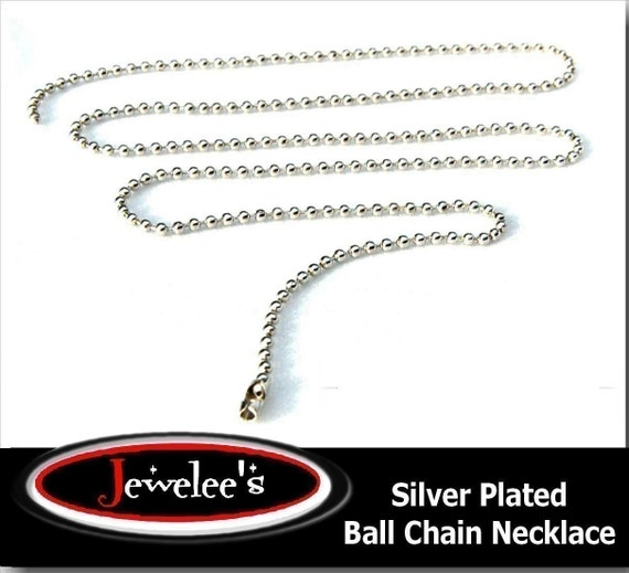 25 Ball Chain Necklaces Silver over STEEL