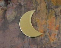 "10 Deburred 24G Brass 1 1/4"" CRESCENT MOON Shaped Stamping Blanks"