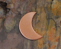 "10 Deburred 24G Copper 1 1/8"" CRESCENT MOON Shaped Stamping Blanks"