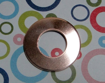 "10 Deburred 18G Copper 1 inch (26mm) Stamping Blanks Washers with 1/2"" hole"
