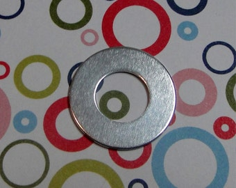 "10 Deburred 18G Aluminum 1 inch (26mm) Stamping Blanks Washers with 1/2"" hole"