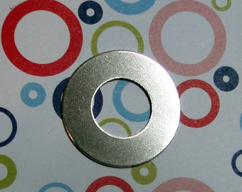 "10 Deburred 20G Nickel Silver 1 inch (26mm) Stamping Blanks Washers with 1/2"" hole"