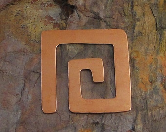 """10 Deburred 24G Copper 1 3/8"""" inch X 1 3/8"""" SQUARE SPIRAL Stamping Blanks"""