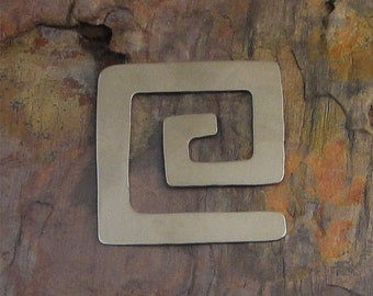 """5 Deburred 24G Nickel Silver 1 3/8"""" inch X 1 3/8"""" SQUARE SPIRAL Stamping Blanks"""