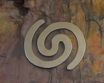 """10 Deburred 24G Nickel Silver 1 3/8"""" inch X 1 3/8"""" DOUBLE SPIRAL Stamping Blanks"""