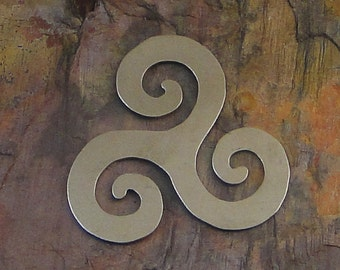 """10 Deburred 24G Nickel Silver 1 3/8"""" inch X 1 3/8"""" TRIPLE SPIRAL Stamping Blanks"""