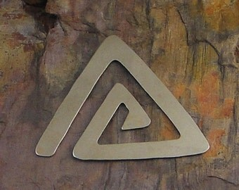 "10 Deburred 24G Nickel Silver 1 3/4"" inch X 1 3/8"" TRIANGLE SPIRAL Stamping Blanks"