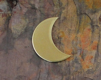 "5 Deburred 24G Brass 7/8"" CRESCENT MOON Shaped Stamping Blanks"