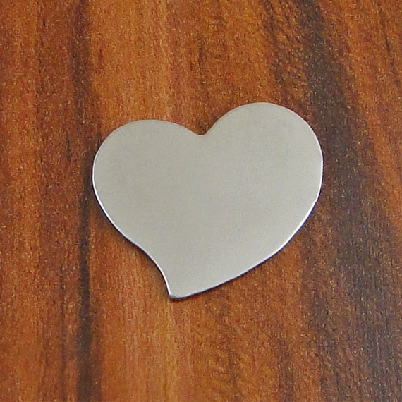 """5 Deburred 20G Nickel Silver 1"""" inch X 1"""" TILTED HEART Stamping Blanks"""
